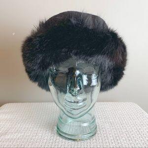 Vintage retro Real fur and wool hat